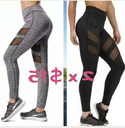 2 pants X $15 Women Sports Mesh YOGA Pants Workout Gym Fitne