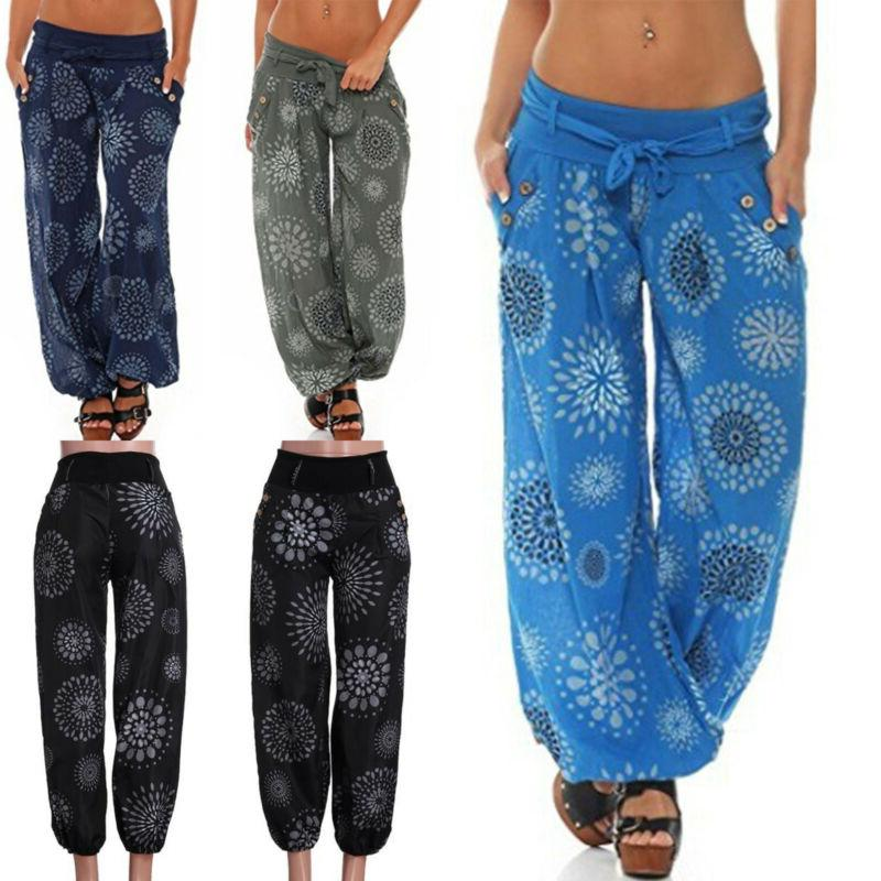 Womens Trousers Yoga Loose Palazzo Pants Size