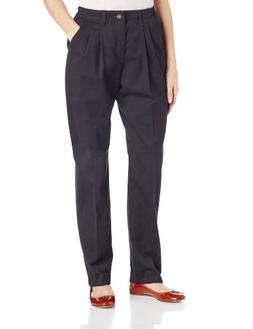 Lee Women's Relaxed Fit Side Elastic Pleated Pant, Black, 12