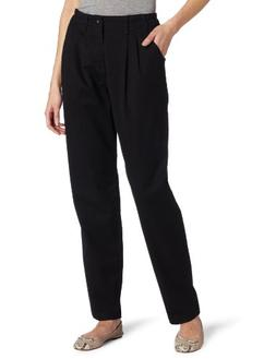 Lee Women's Relaxed Fit Side Elastic Pleated Pant, Black, 8