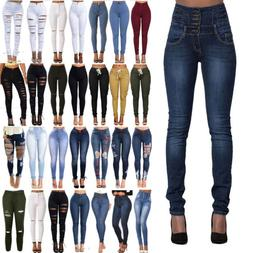 Women High Waisted Ripped Stretchy Slim Skinny Jeans Denim L