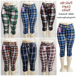 Women's Casual Pull-On Check Pants Leggings with Pockets Cap