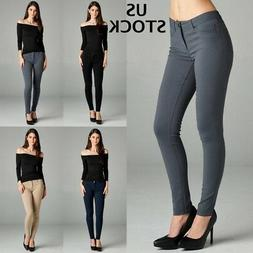 Womens Skinny Pencil Pants Trousers Office Jeggings Ladies W